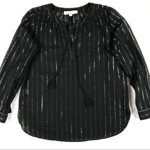 LOFT Black Long Sleeves Blouse Size S Petite